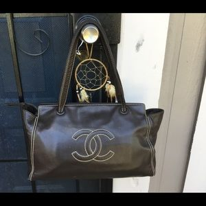 CHANEL Bags - CHANEL Brown Caviar Large Tote EC